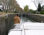 Paul at our first lock