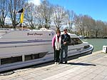 Martha and Dave and our canal boat at Beziers