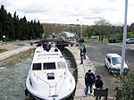 Our boat in the stair-step locks after Beziers