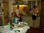 Vanessa Paul & Martha in kitchen in our villa in Tuscany